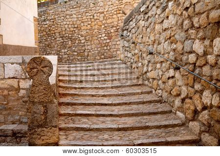 Morella in Maestrazgo castellon village masonry stairs at Spain