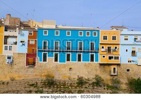 Colorful houses in Villajoyosa La vila Joiosa Alicante at Mediterranean Spain