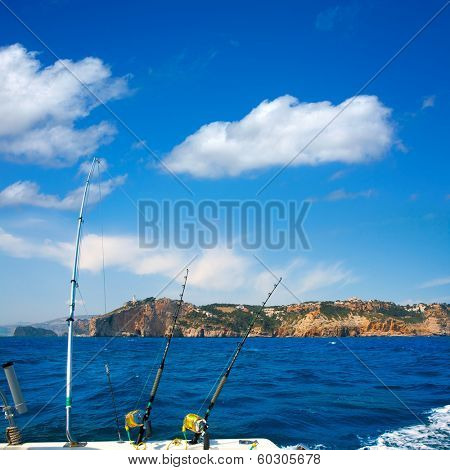 Fishing trolling boat rods in Mediterranean Cabo Nao Cape at Alicante Spain