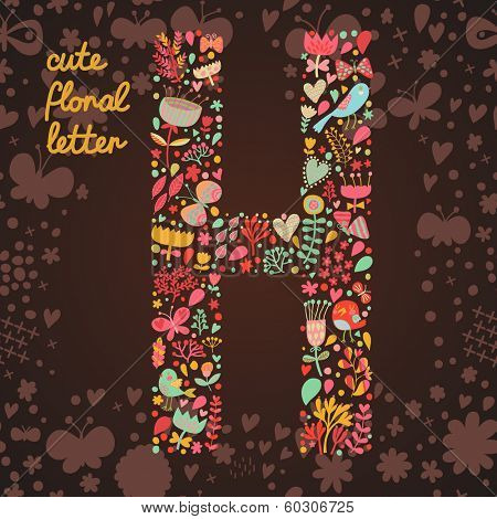The letter H. Bright floral element of colorful alphabet made from birds, flowers, petals, hearts and twigs. Summer floral ABC element in vector