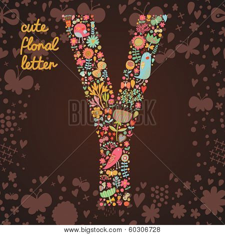 The letter Y. Bright floral element of colorful alphabet made from birds, flowers, petals, hearts and twigs. Summer floral ABC element in vector