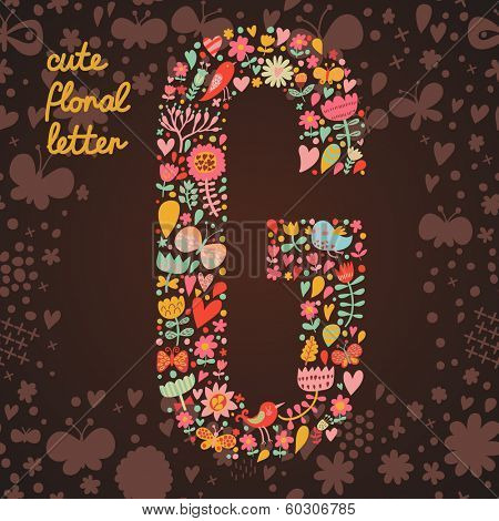 The letter G. Bright floral element of colorful alphabet made from birds, flowers, petals, hearts and twigs. Summer floral ABC element in vector