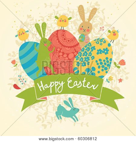 Funny happy easter card in vector. Cute rabbits and chicken with bright holiday eggs