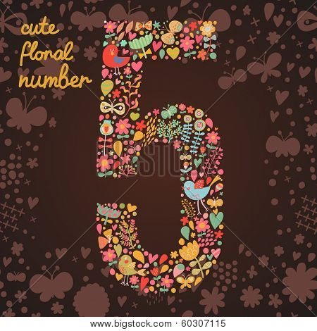 The number 5. Bright floral element of colorful alphabet made from birds, flowers, petals, hearts and twigs. Summer floral ABC element in vector