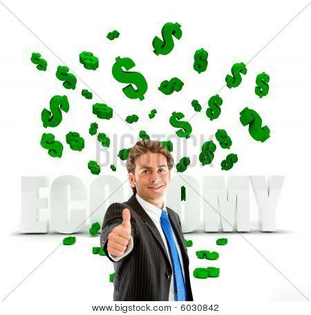 Business Man Under A Money Rain