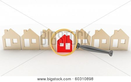 Magnifying glass selects or inspects a home in a row of houses. Concept of search of house for residence, real estate investment, inspection.
