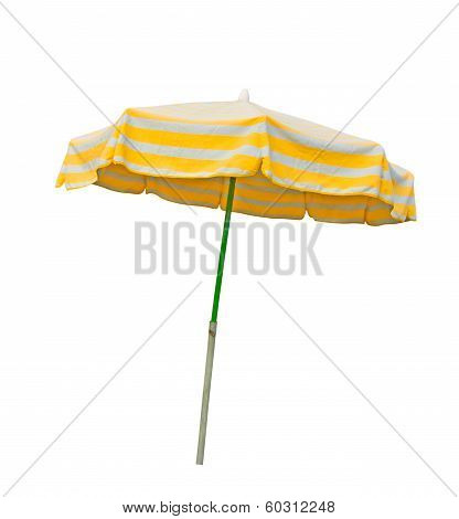 Yellow And Gray Beach Umbrella Isolated On White