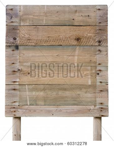 Old Wooden Panelling Board Isolated On White