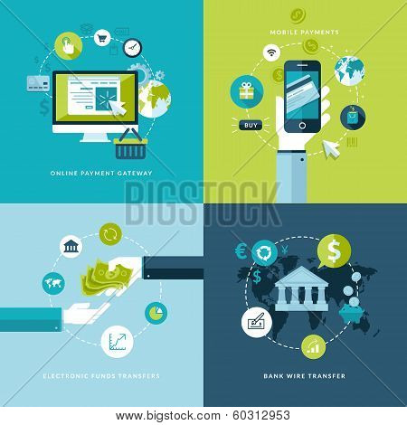 Flat design vector illustration concepts of online payment methods poster