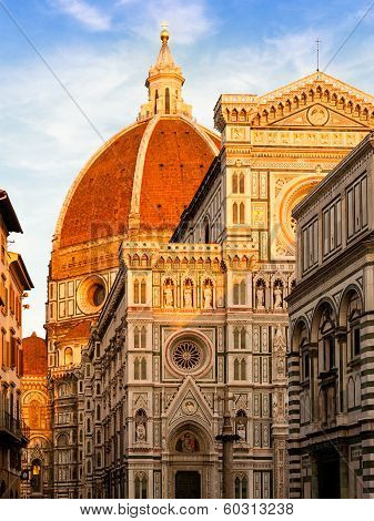 Duomo Florence In Evening Sunlight