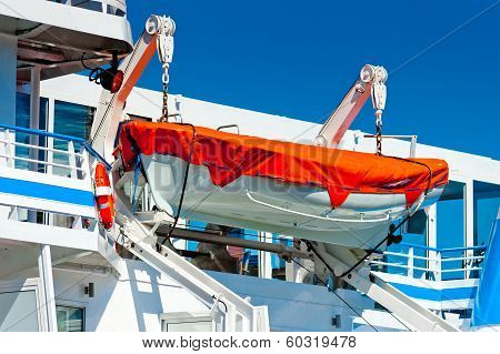 Lifeboat Hanging On A Big Ship