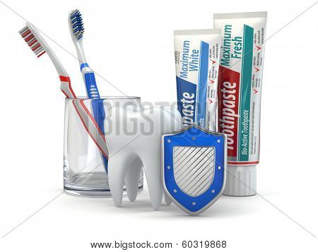 Dental protection, Tooth, shield, toothpaste and toothbrushes. 3d