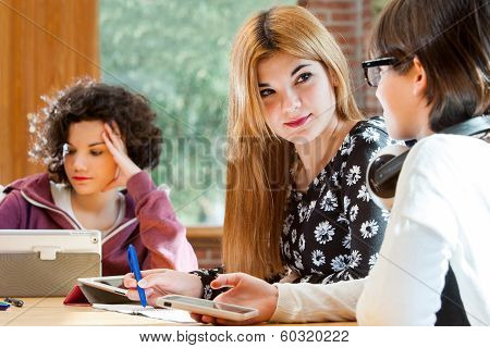 Young Female Students Discussing Homework.