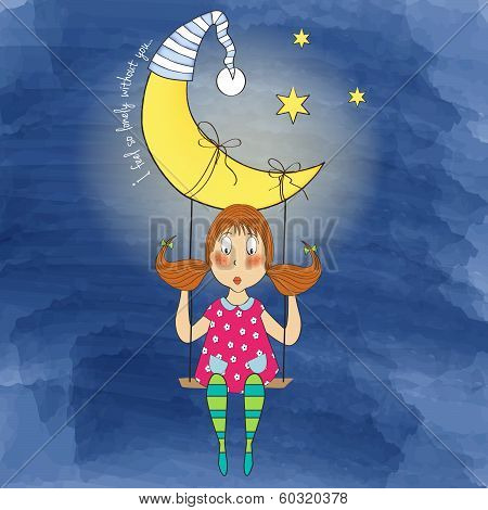 Nostalgic Young Girl Swinging In A Swing Hanging From The Moon