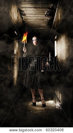 Jester Woman In Fear Walking Haunted Castle Halls