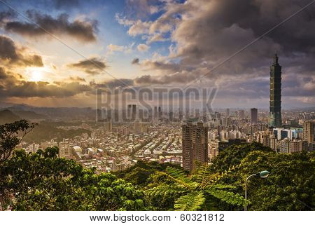 Taipei, Taiwan skyline at sunset.