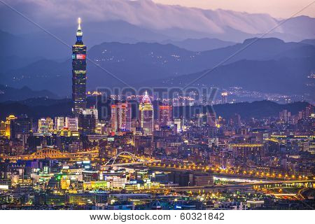Taipei, Taiwan city skyline.