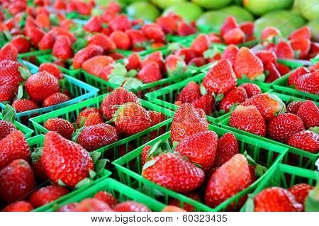 Strawberries At Farmer's Market