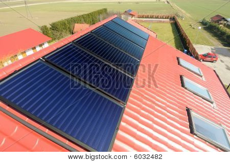 Solar panelson the red roof