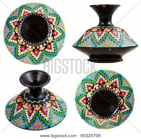 Set Of Moroccan Ceramic Vase With Mosaic Ornament