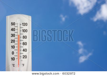 Thermometer saying its hot