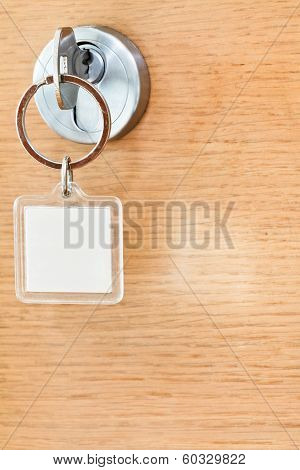 Home Key With Blank Square Keychain In Lock