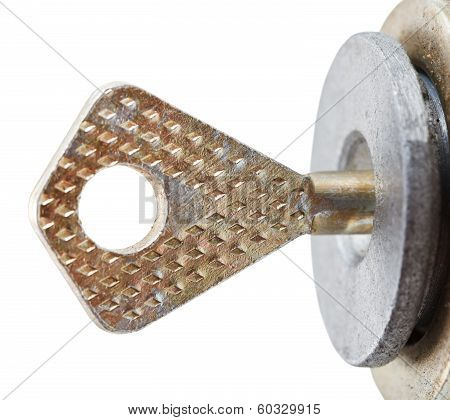 Key In Disc Tumbler Lock Cylinder Close Up