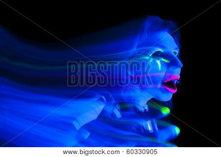 Woman Black Light Ghost Hand Up Mouth Open