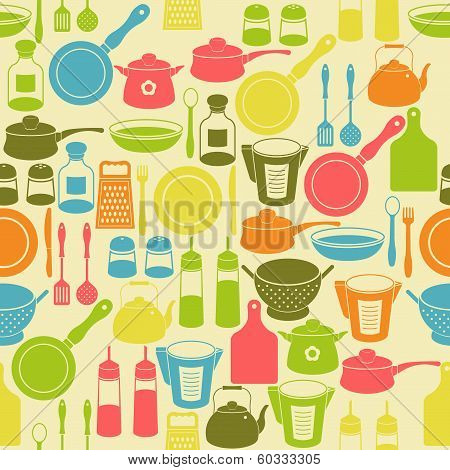Seamless Retro Pattern With Kitchen Utensils