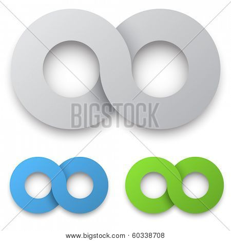 White 3D infinity sign with color variants isolated on white background.