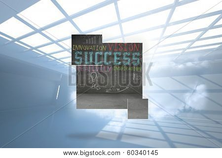 Success plan on abstract screen against room with holographic cloud