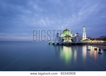 Malacca Straits Mosque At Evening Blue Hour