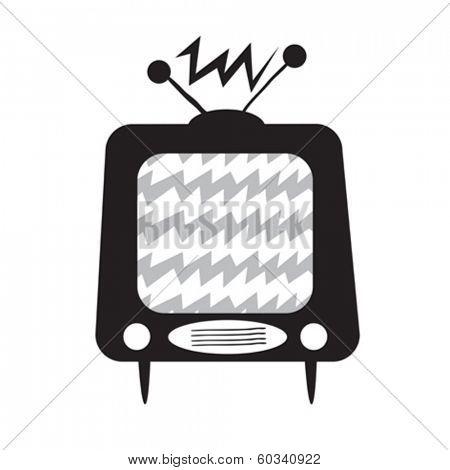 black and white retro tv