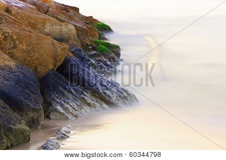 Rock sunk in the fog