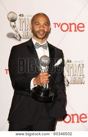 vLOS ANGELES - FEB 22:  Aaron D. Spears at the 45th NAACP Image Awards Press Room at Pasadena Civic Auditorium on February 22, 2014 in Pasadena, CA