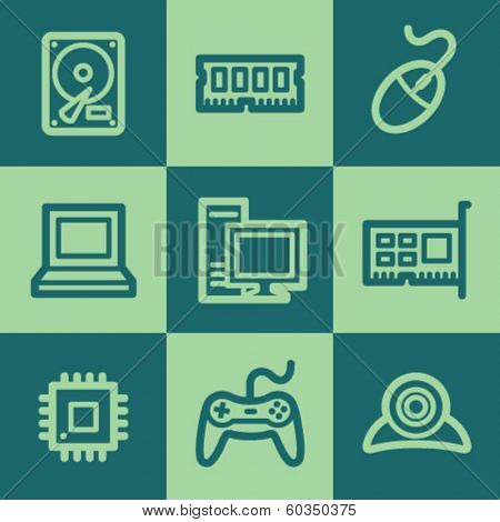 Computer web icons, green square buttons set