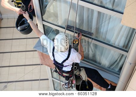 Climbers Washing Windows