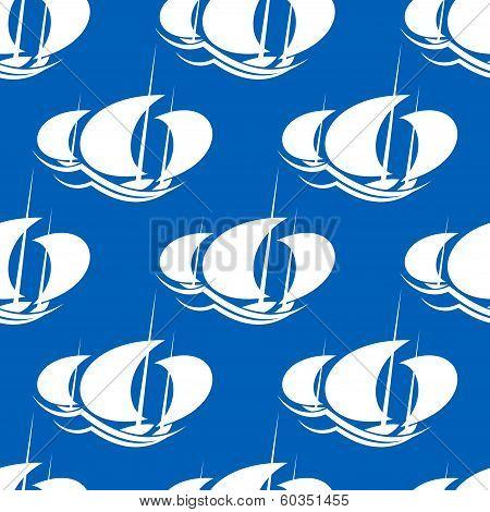 Racing yachts seamless pattern