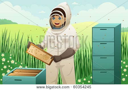 Beekeepers With Honey Comb
