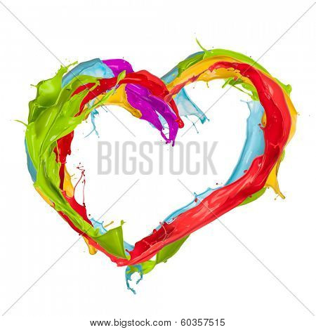 Colored splashes in heart shape, isolated on white background