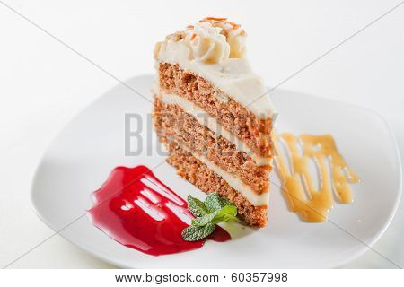 piece of sponge cake with fruit jam