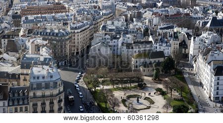 paris, france - panorama from Notre-Dame - Square Rene Viviani