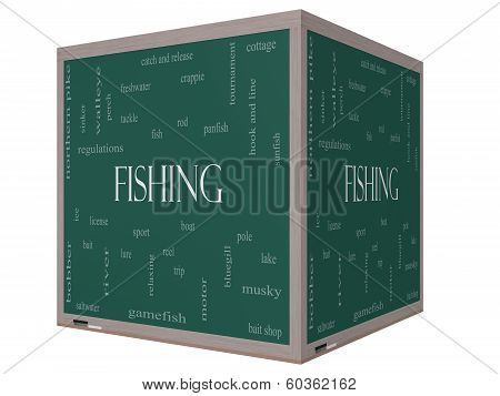 Fishing Word Cloud Concept On A 3D Cube Blackboard