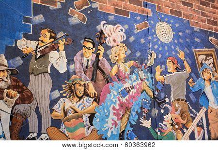 Wall art on Whyte Avenue in Edmonton