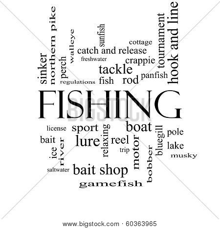 Fishing Word Cloud Concept In Black And White