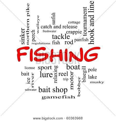 Fishing Word Cloud Concept In Red Caps