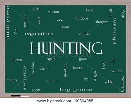Hunting Word Cloud Concept On A Blackboard