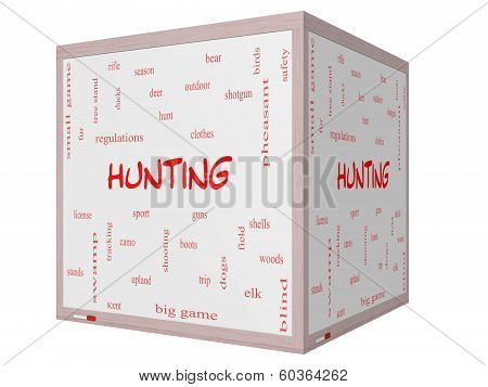 Hunting Word Cloud Concept On A 3D Cube Whiteboard