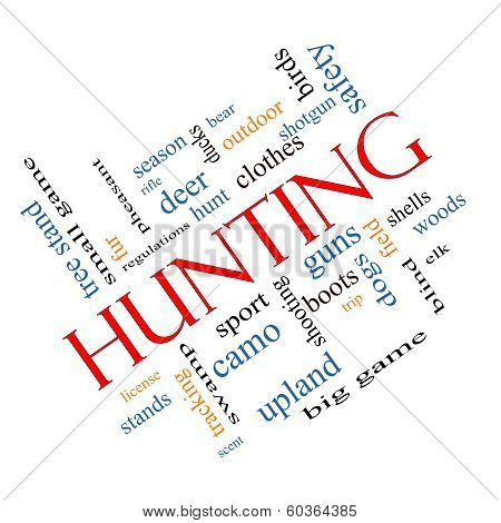 Hunting Word Cloud Concept Angled