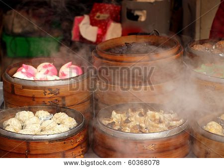 Hot Steamers With Dim Sum Dishes